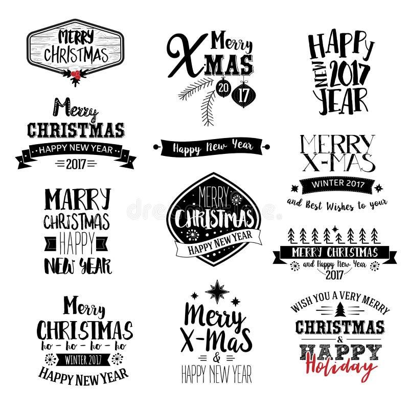 С Рождеством Христовым комплект дизайна литерности иллюстрация вектора
