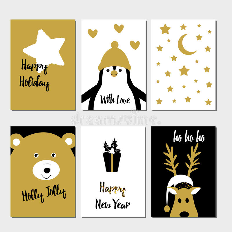 С Рождеством Христовым комплект поздравительной открытки бесплатная иллюстрация