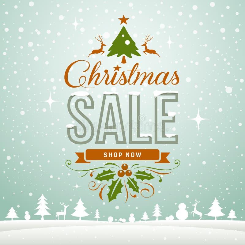 С Рождеством Христовым концепция поздравительной открытки зимы продажи иллюстрация штока