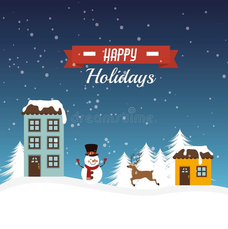 С Рождеством Христовым красочная карточка иллюстрация штока
