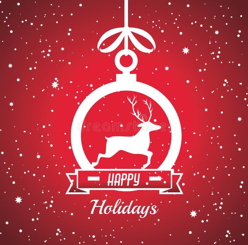 С Рождеством Христовым красочная карточка иллюстрация вектора