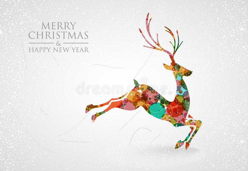 С Рождеством Христовым красочная поздравительная открытка северного оленя иллюстрация штока