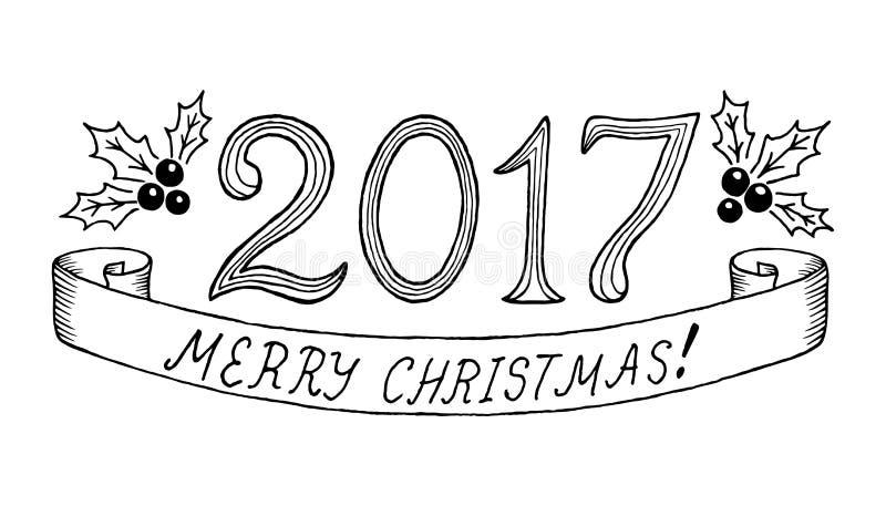 С Рождеством Христовым 2017 Литерность нарисованная рукой также вектор иллюстрации притяжки corel иллюстрация штока
