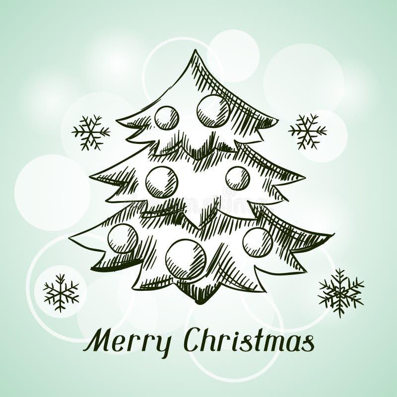С Рождеством Христовым нарисованная рукой карточка приглашения иллюстрация вектора