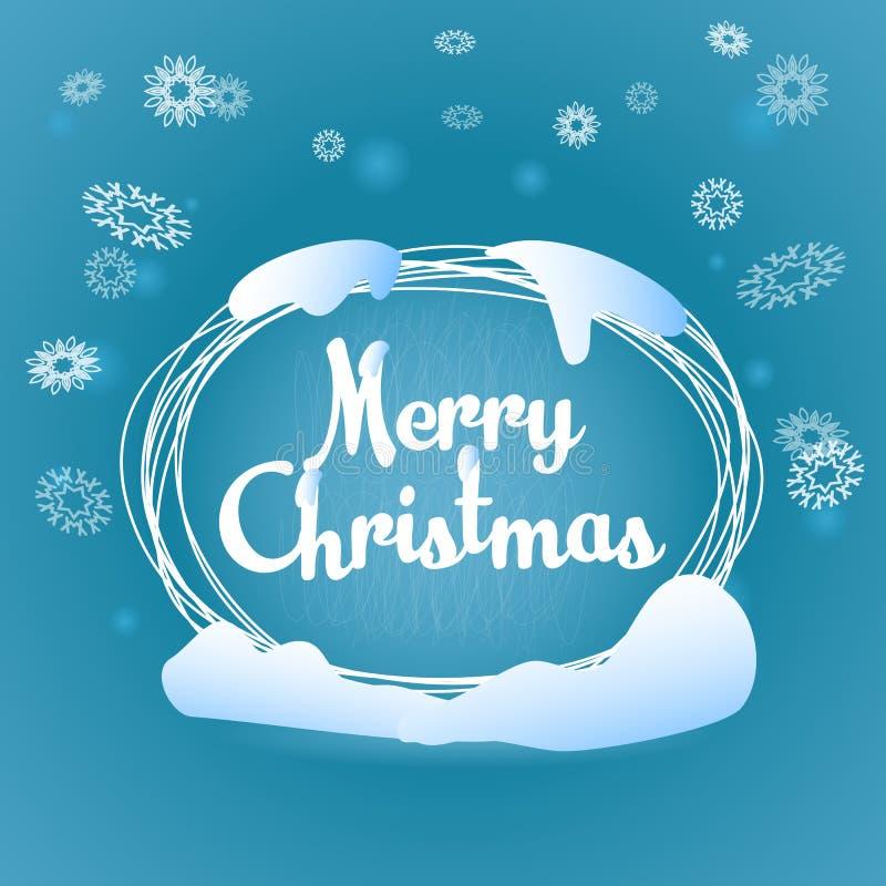 С Рождеством Христовым овальная карточка сини приветствию иллюстрация вектора