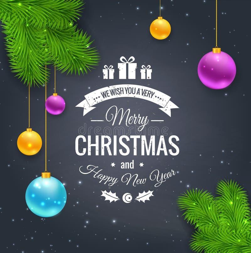 С Рождеством Христовым логотип приветствиям на доске иллюстрация вектора