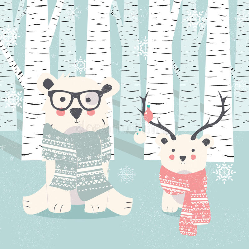 С Рождеством Христовым открытка с 2 приполюсными белыми медведями в лесе бесплатная иллюстрация