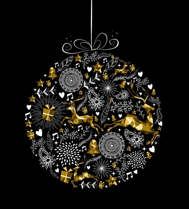 С Рождеством Христовым олени золота шарика орнамента Нового Года бесплатная иллюстрация