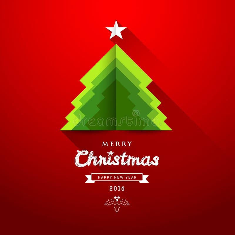 С Рождеством Христовым перекрытие дерева зеленого цвета бумаги origami иллюстрация вектора