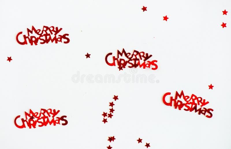 С Рождеством Христовым письма и маленькие красные звезды стоковые фотографии rf