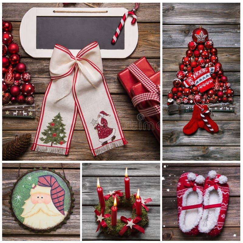С Рождеством Христовым поздравительная открытка в красном и белом цвете на древесине стоковое фото rf