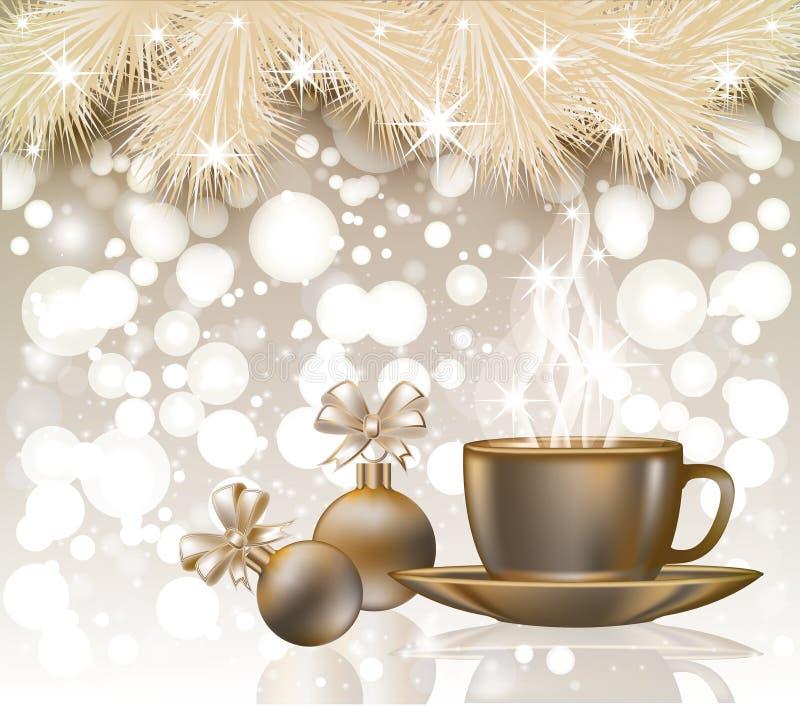 С Рождеством Христовым поздравительная открытка с кофейной чашкой иллюстрация вектора