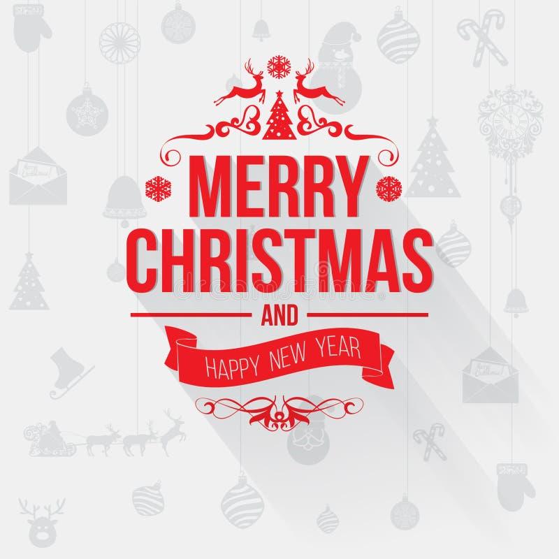 С Рождеством Христовым поздравительная открытка с красными письмами на свете - серой предпосылке иллюстрация вектора