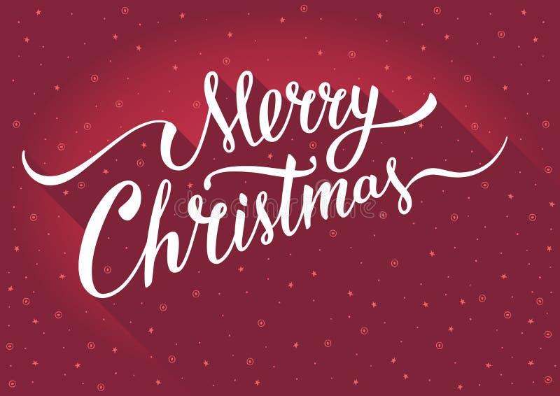 С Рождеством Христовым поздравительная открытка с оформлением года сбора винограда handlettering на красной предпосылке иллюстрация вектора