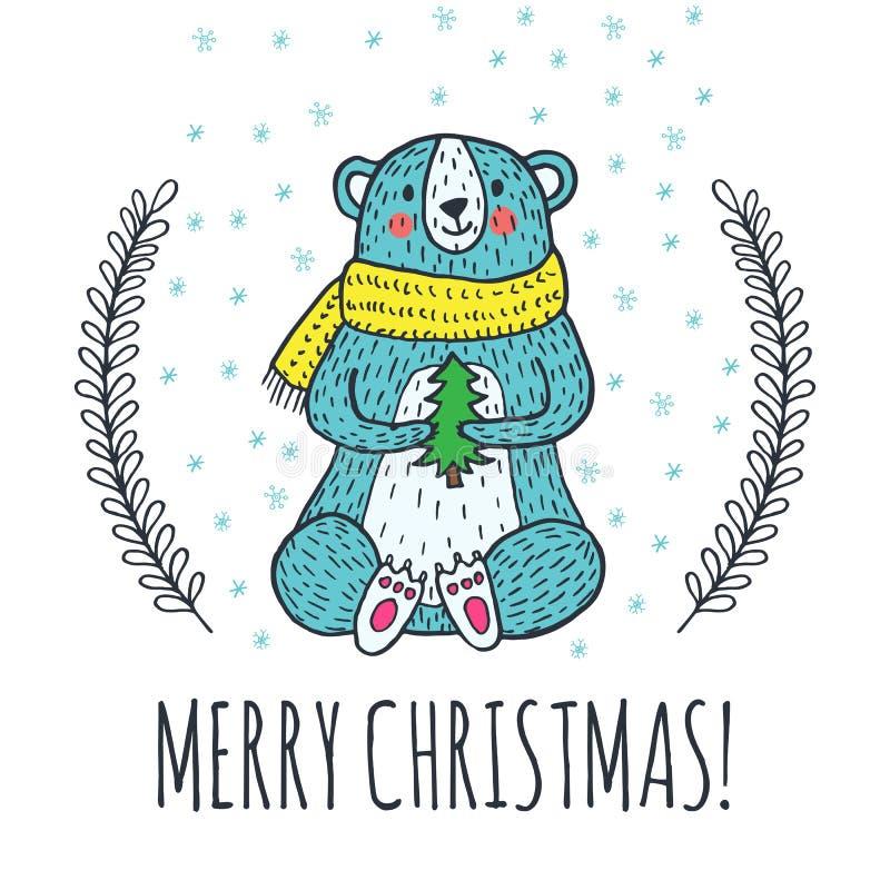 С Рождеством Христовым поздравительная открытка с плюшевым медвежонком бесплатная иллюстрация