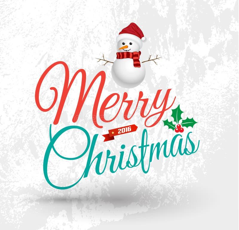 С Рождеством Христовым поздравительная открытка с человеком снега иллюстрация штока