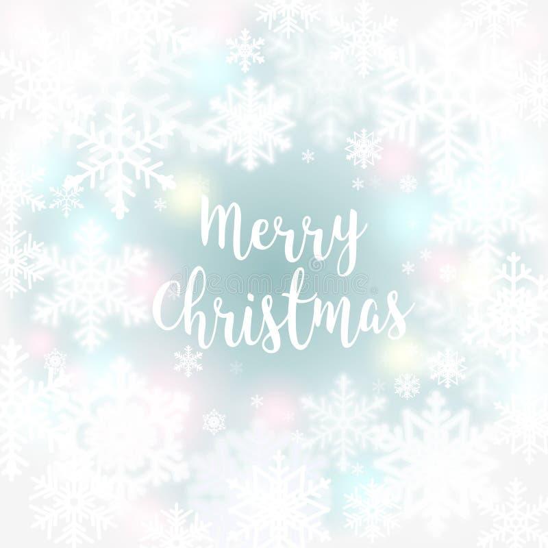 С Рождеством Христовым предпосылка сообщения и света с снежинками вектор экрана иллюстрации 10 eps бесплатная иллюстрация