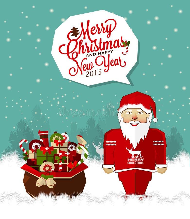 С Рождеством Христовым предпосылка с Сантой и подарками Продажа праздников иллюстрация вектора