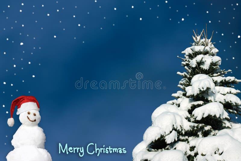 С Рождеством Христовым предпосылка с снеговиком и снежинками и снежный иллюстрация вектора