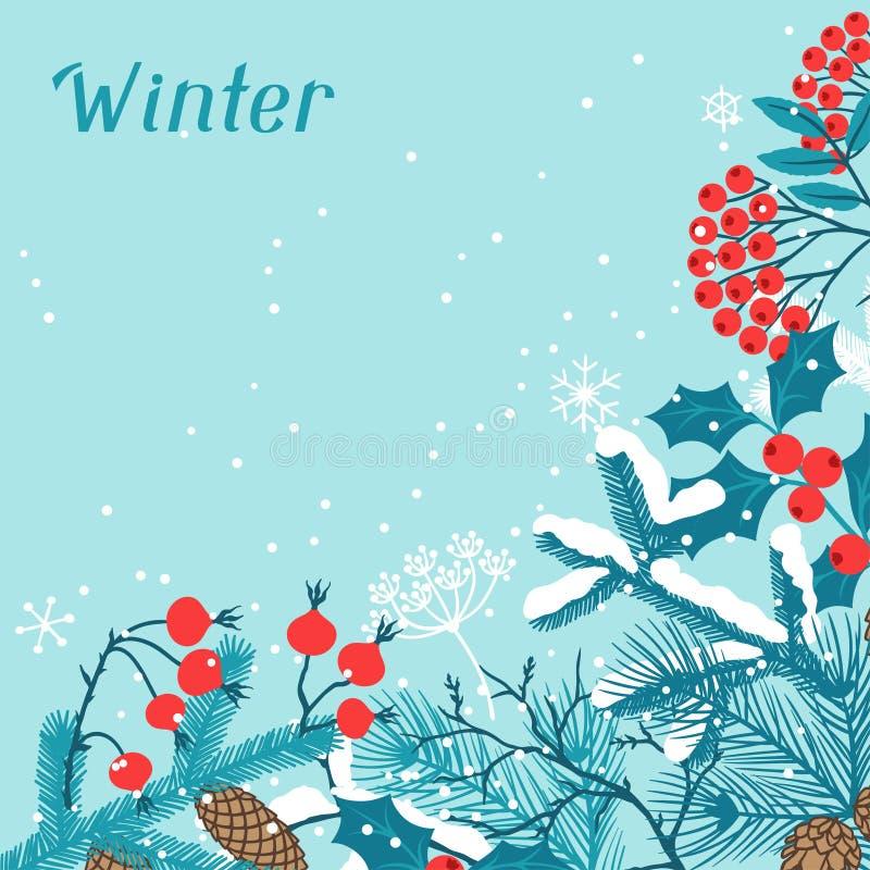 С Рождеством Христовым предпосылка с стилизованной зимой иллюстрация вектора