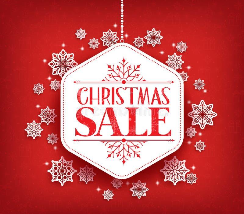 С Рождеством Христовым продажа в висеть хлопьев снега зимы бесплатная иллюстрация
