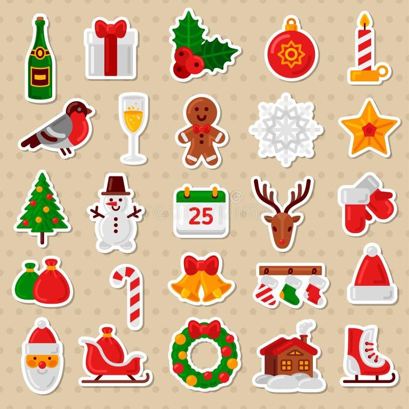 С Рождеством Христовым плоские значки Счастливые стикеры Нового Года иллюстрация вектора