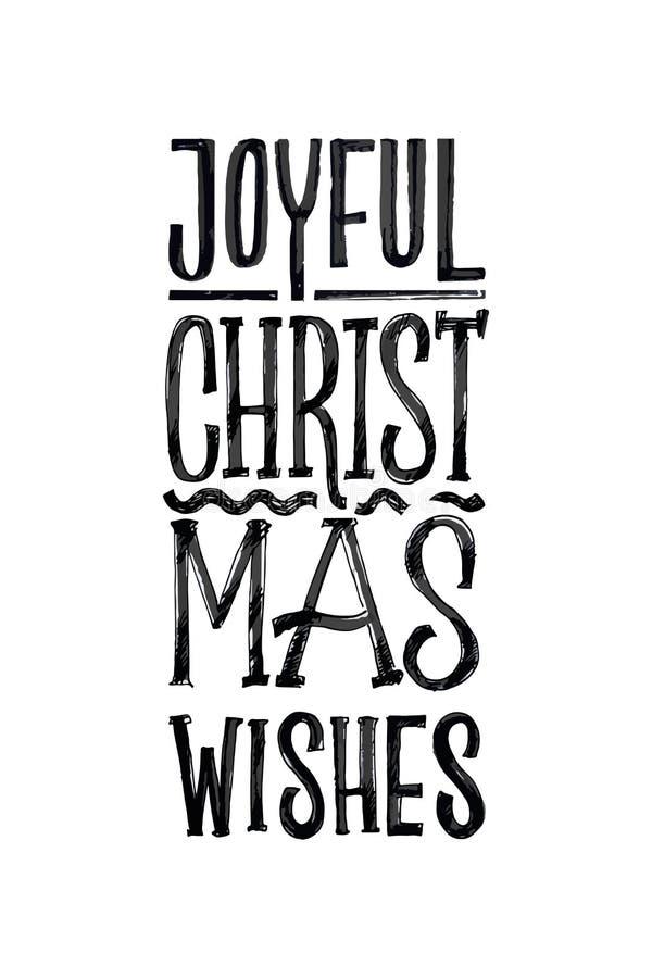 С Рождеством Христовым ретро плакат вектора Черно-белый Monochrome дизайн Шаблон каллиграфии чернил нарисованный рукой на зима иллюстрация штока