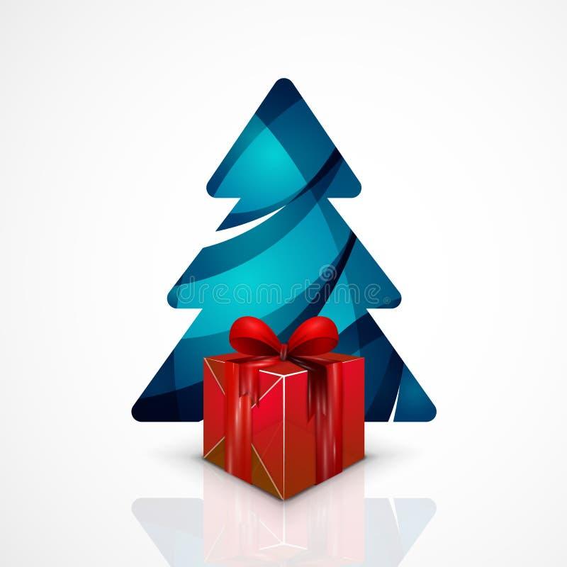 С Рождеством Христовым рождественская елка, современное абстрактное геометрическое иллюстрация вектора