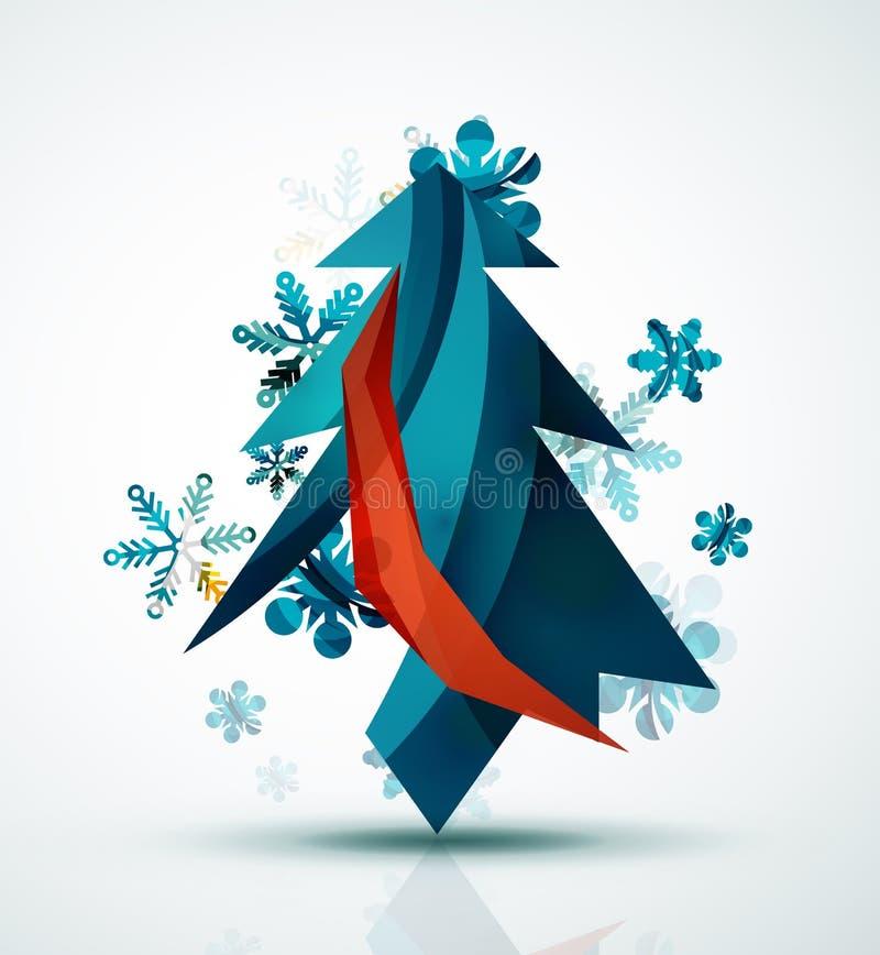 С Рождеством Христовым рождественская елка, современное абстрактное геометрическое иллюстрация штока