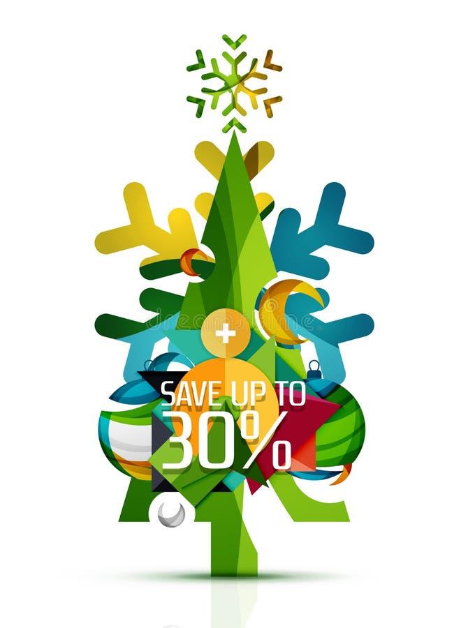 С Рождеством Христовым рождественская елка с рекламой продвижения иллюстрация вектора