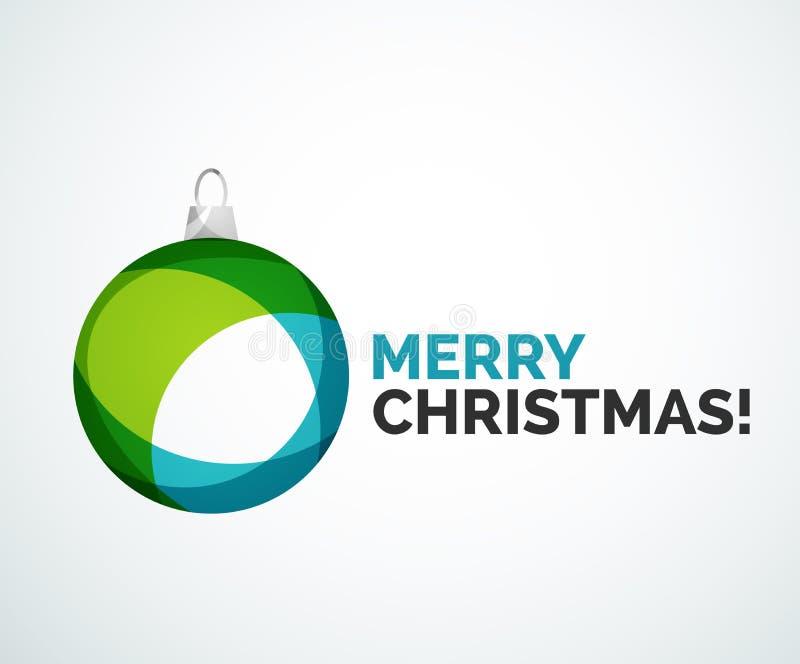 С Рождеством Христовым рождественская открытка - абстрактный шарик, безделушка иллюстрация вектора