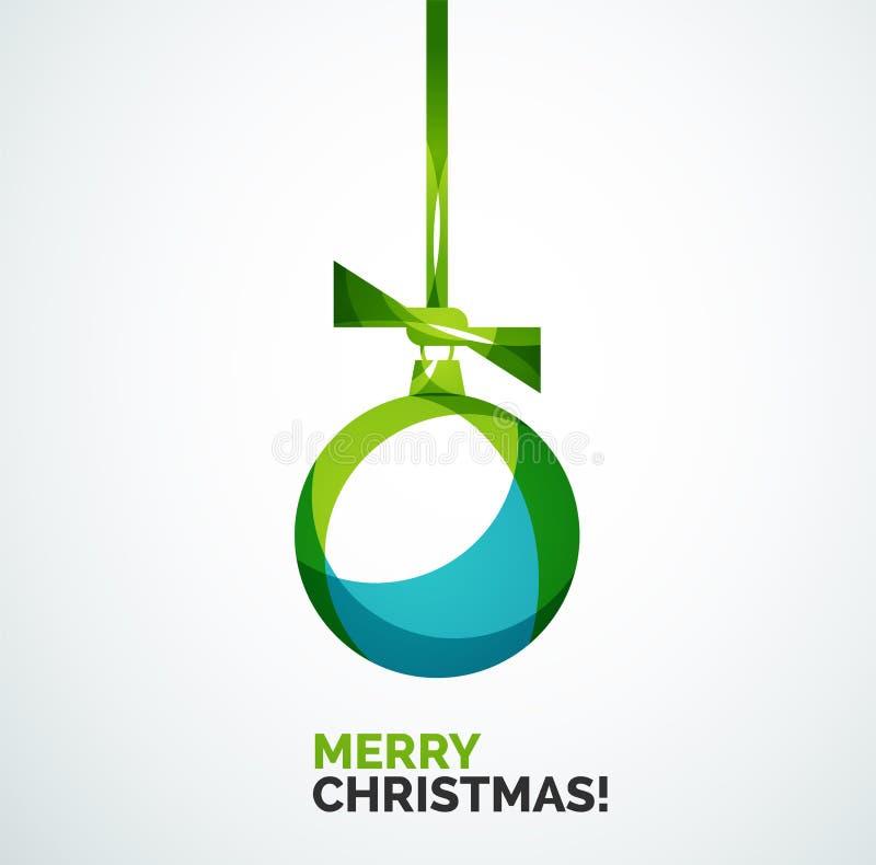 С Рождеством Христовым рождественская открытка - абстрактный шарик, безделушка иллюстрация штока