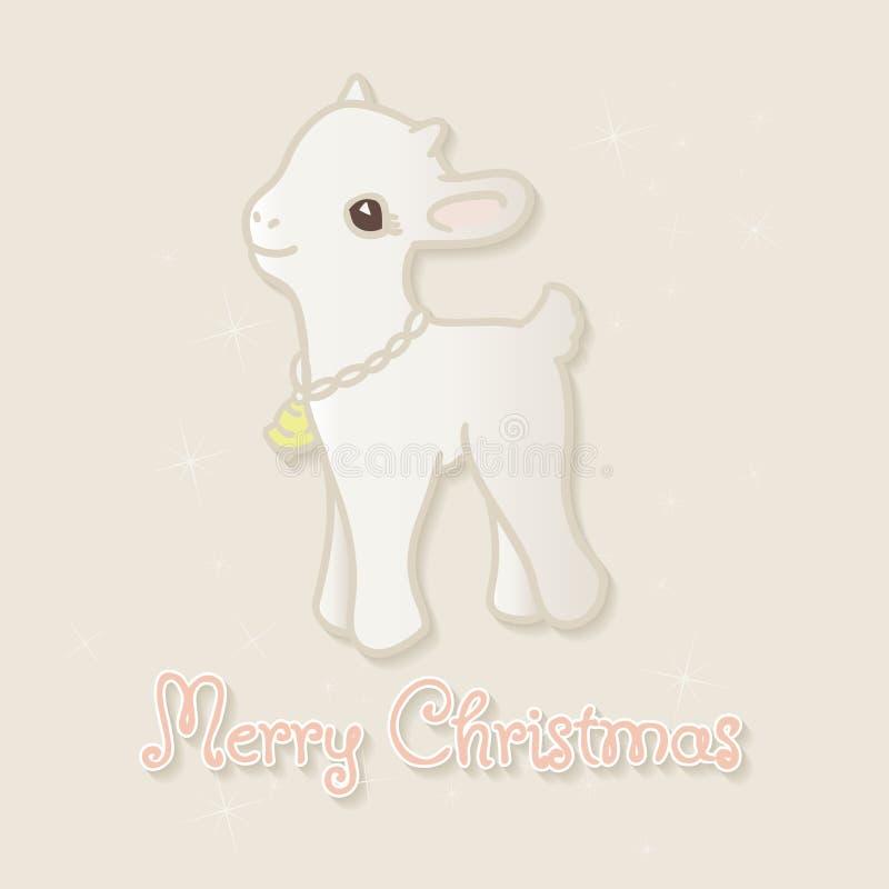 С Рождеством Христовым рождественская открытка с маленькой козой иллюстрация штока