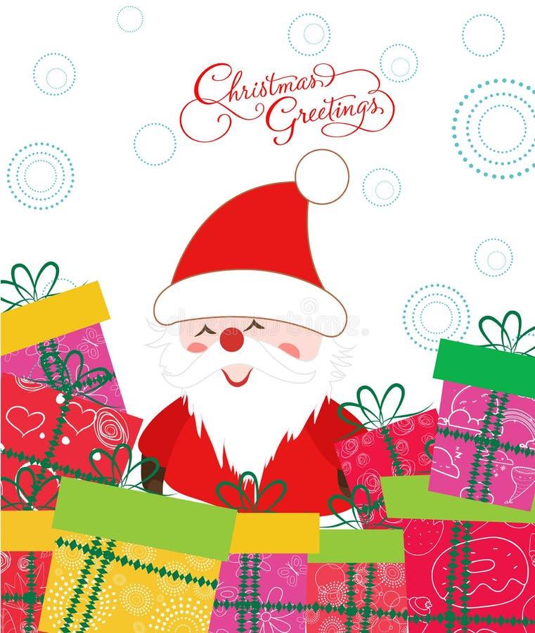 С Рождеством Христовым рождественская открытка с Санта Клаусом и подарком иллюстрация штока