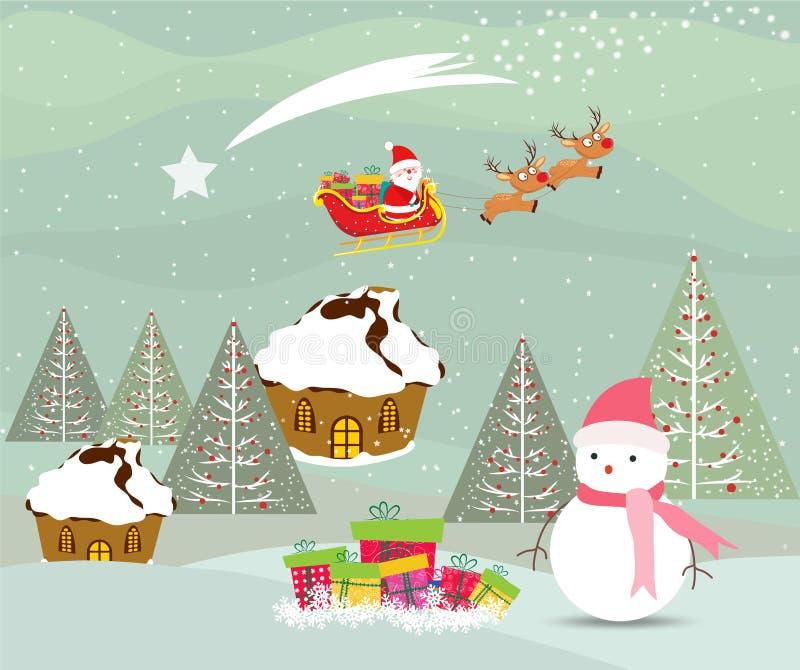 С Рождеством Христовым рождественская открытка с Санта Клаусом, снеговиком и подарком бесплатная иллюстрация