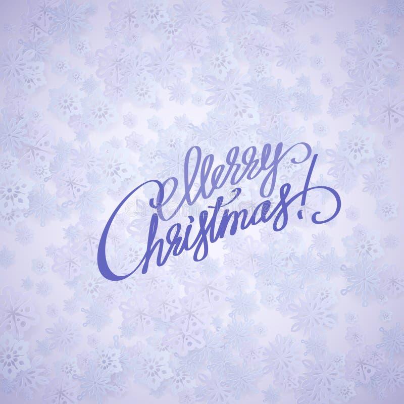 С Рождеством Христовым рукописный текст на предпосылке с снежинками иллюстрация штока