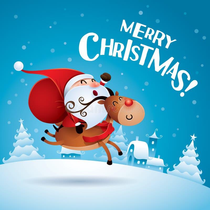 С Рождеством Христовым! Санта Клаус ехать северный олень Рудольфа иллюстрация вектора
