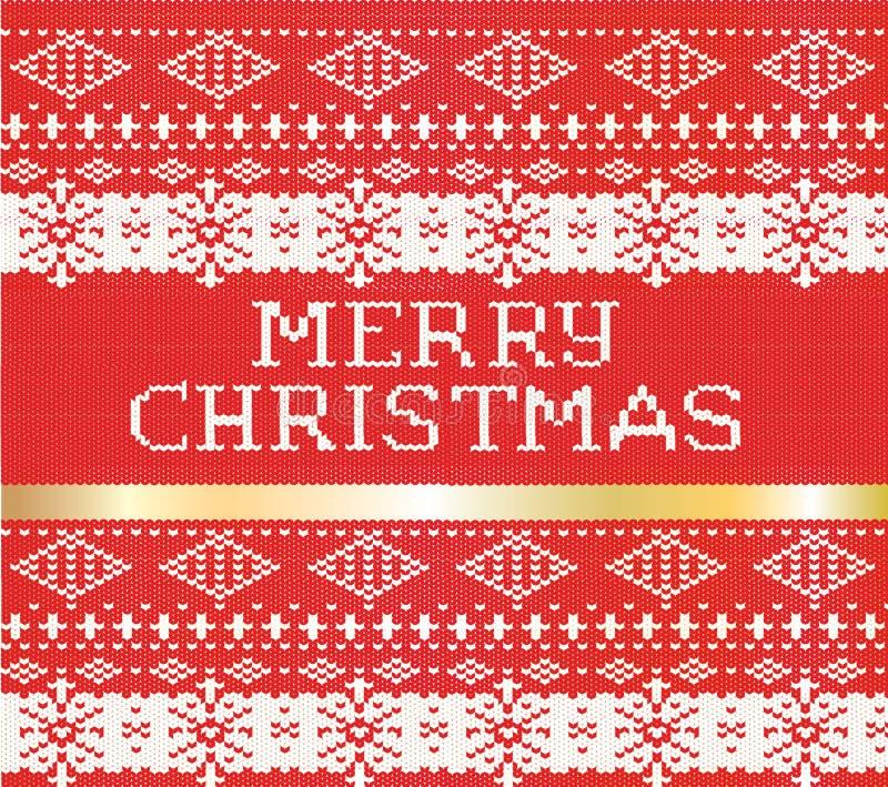 С Рождеством Христовым связанная картина свитера с holi нашивки золота бесплатная иллюстрация