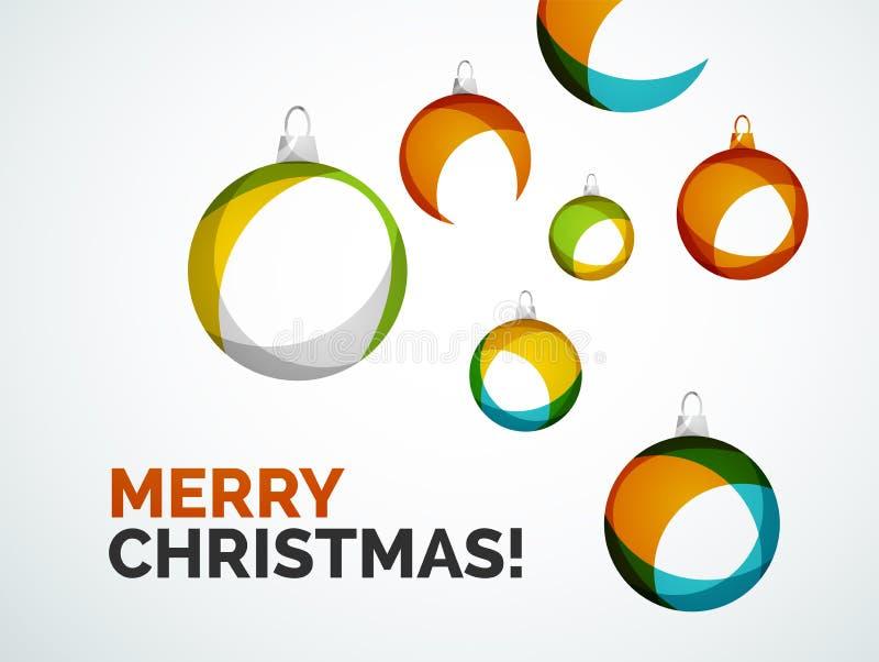 С Рождеством Христовым современная карточка - абстрактные безделушки бесплатная иллюстрация