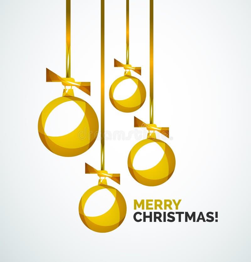 С Рождеством Христовым современная карточка - абстрактные безделушки иллюстрация вектора