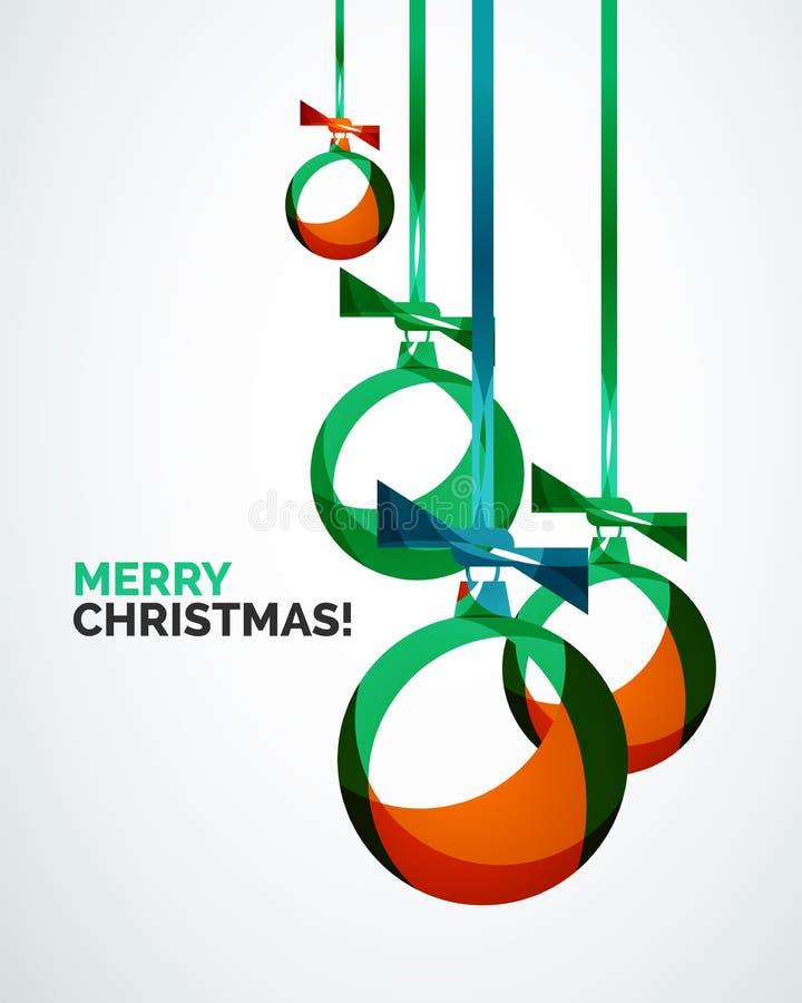 С Рождеством Христовым современная карточка - абстрактные безделушки иллюстрация штока