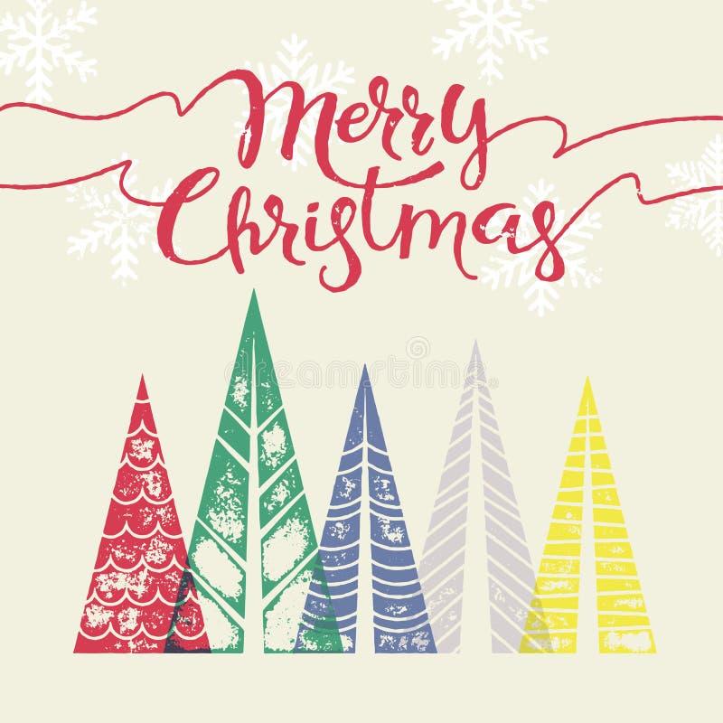 С Рождеством Христовым современная поздравительная открытка с сосной иллюстрация штока