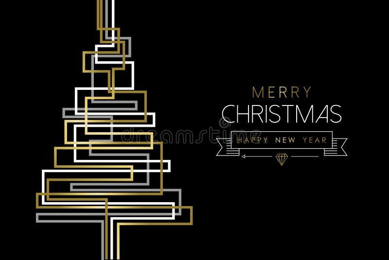С Рождеством Христовым сосна конспекта золота Нового Года иллюстрация штока
