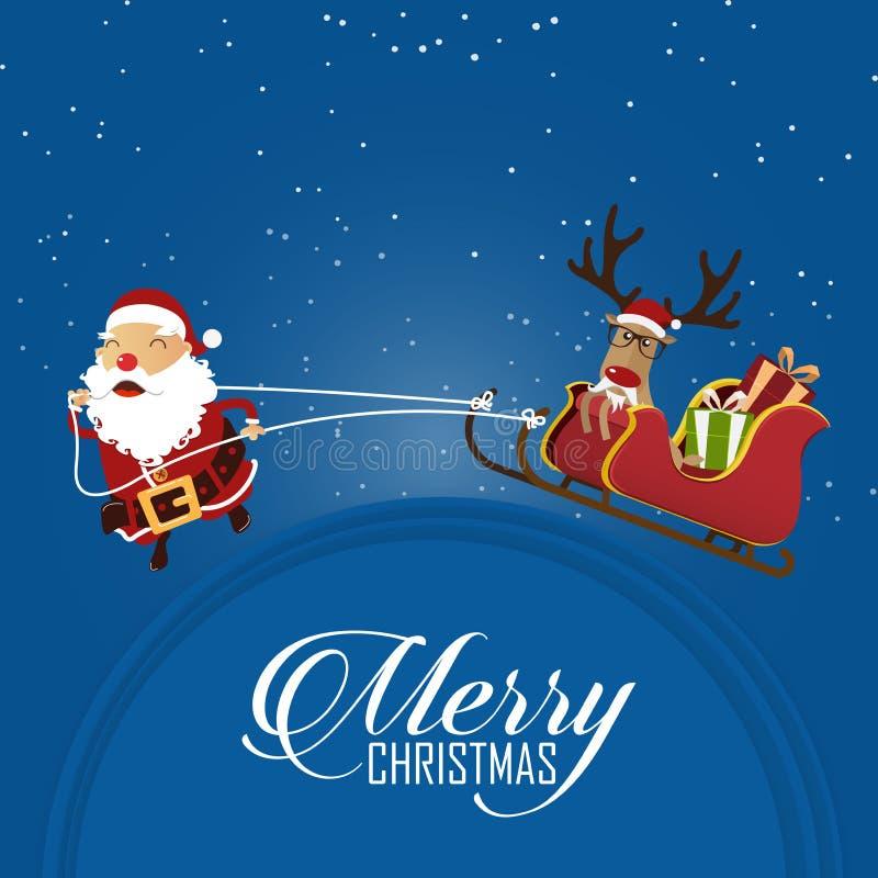 С Рождеством Христовым сцена при Санта Клаус вытягивая сани и северный оленя Санты Clauss головка дерзких милых собак персонажа и бесплатная иллюстрация