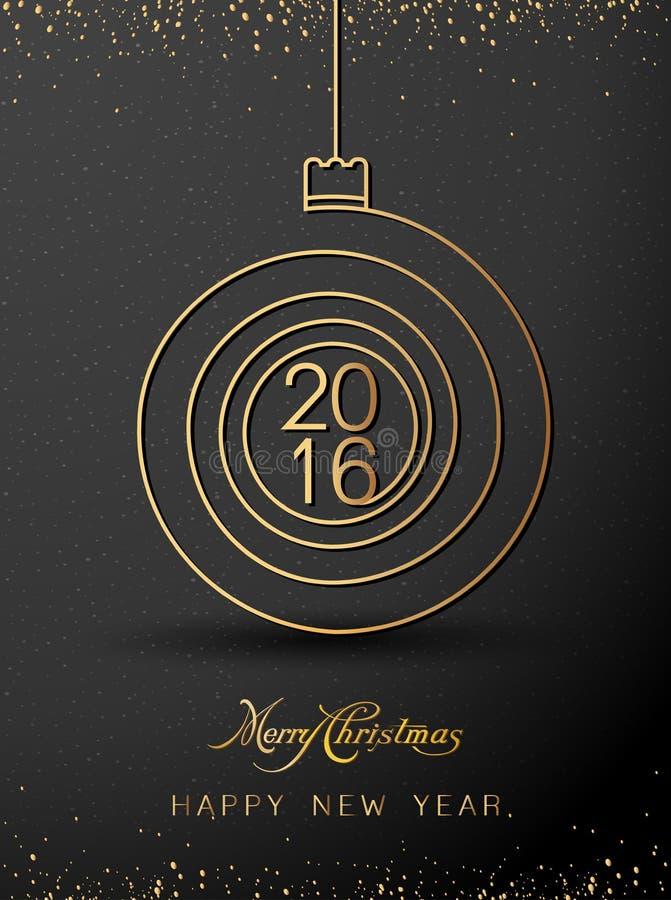 С Рождеством Христовым счастливые форма золота 2016 Нового Года спиральная Идеал для карточки xmas или элегантного приглашения па бесплатная иллюстрация