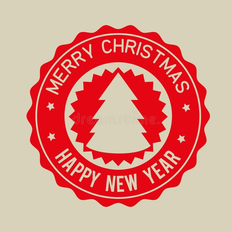 С Рождеством Христовым счастливый значок красного цвета Нового Года иллюстрация штока