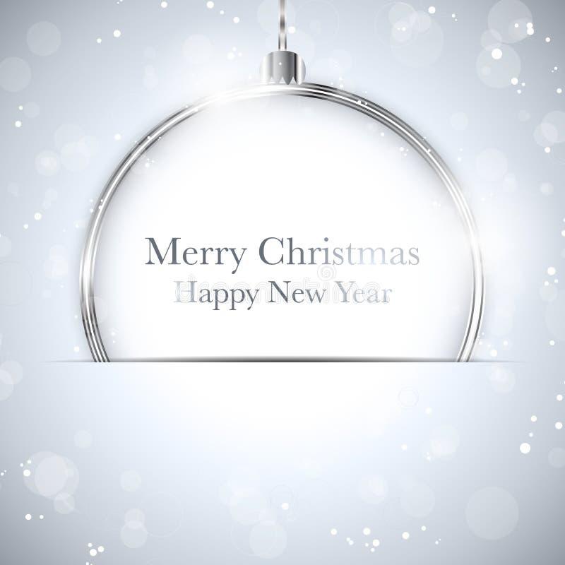 С Рождеством Христовым счастливый серебр шарика Нового Года с St иллюстрация штока