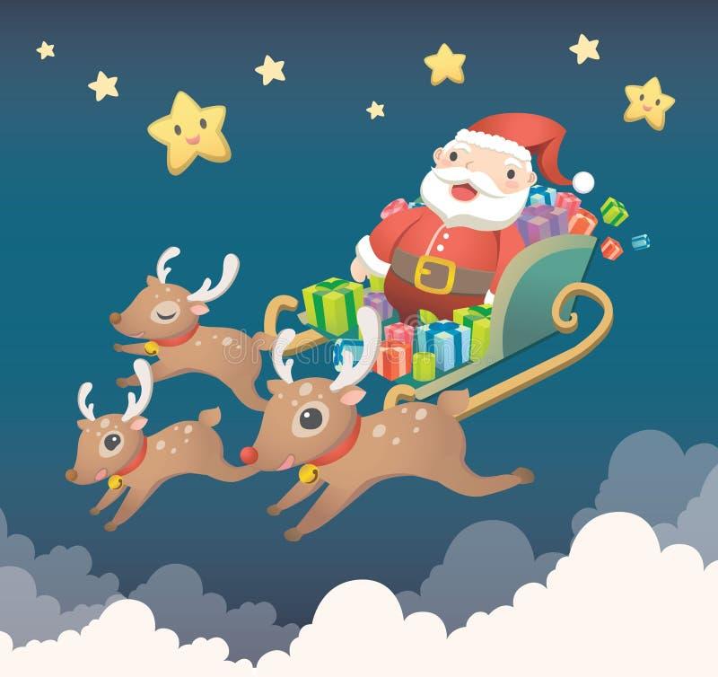 С Рождеством Христовым с милым Санта Клаусом и его товарищами бесплатная иллюстрация