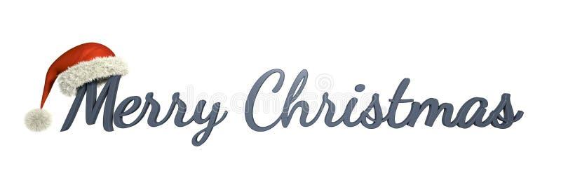 С Рождеством Христовым с шляпой Санта Клауса иллюстрация штока