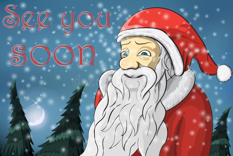 С Рождеством Христовым текст Санта Клауса снега луны увидит вас скоро иллюстрация вектора